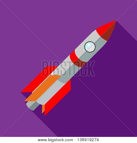 Space shuttle rocket launch icon in flat style on a purple background