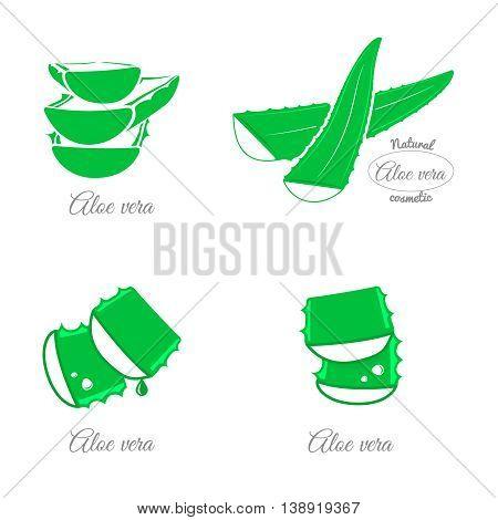 Aloe vera design elements. Icons and emblems.