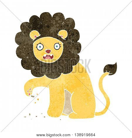freehand retro cartoon lion with thorn in foot