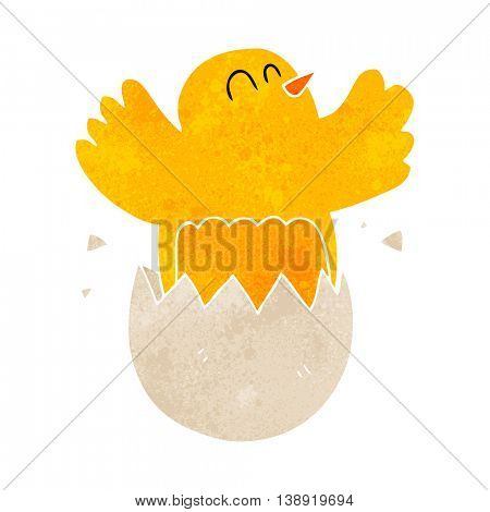 freehand retro cartoon hatching egg