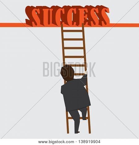 Businessman steps towards success...reaching high, an achievement.