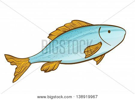 cartoon fish drawing on white. vector illustration