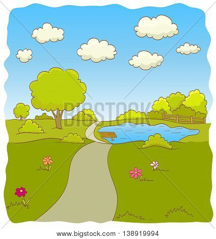 Cartoon illustration of nature landscape with road trees bushes flowers lake sky and clouds. vector