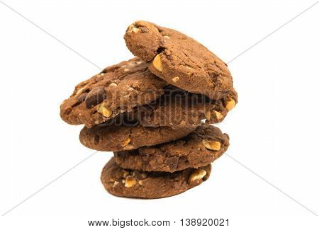 cookies with chocolate and nuts on a white background