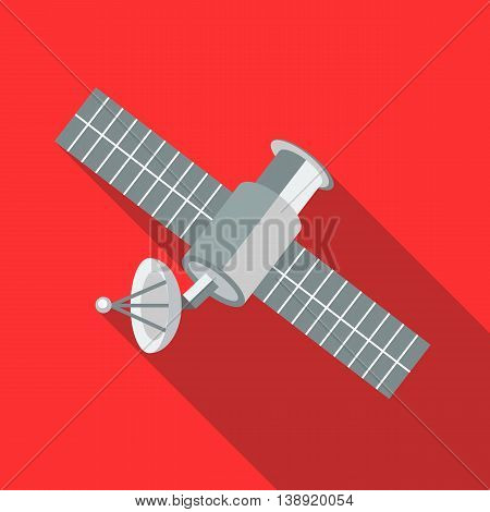 Space satellite icon in flat style on a red background