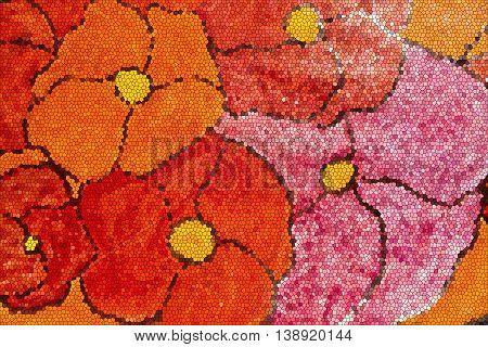 Floral mosaic. Abstract mosaic. Mosaic design. Mosaic style.