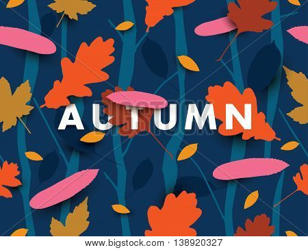 Autumn illustration with falling leaves in the dark forest. Vector background.