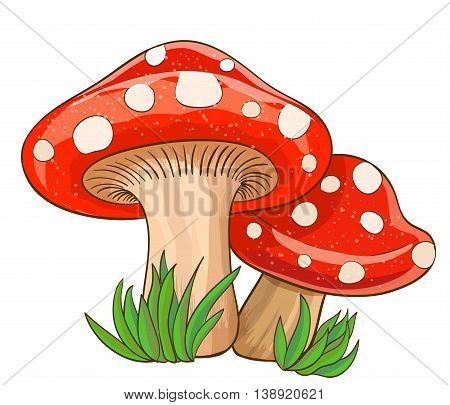 cartoon red mushrooms and grass on white. vector illustration