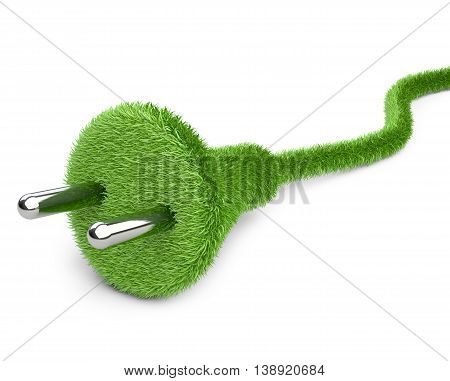 Alternative a net energy. 3d conceptual image. Grass covered electrical plug and cord.