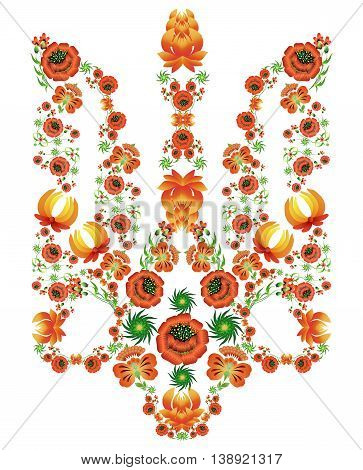 Floral pattern in the form of the coat of arms of Ukraine in the style of painting Petrykivka. Illustration of the historic artistic traditions in the national style for printing and backgrounds.