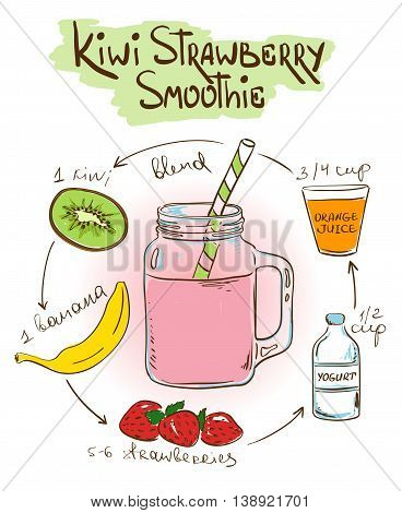 Hand drawn sketch illustration with Kiwi Strawberry smoothie. Including recipe and ingredients for restaurant or cafe. Healthy lifestyle concept.