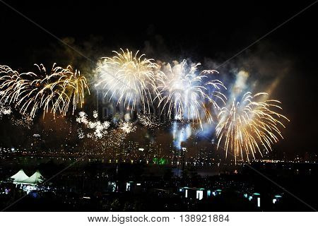 Celebration fireworks on sky. International Fireworks. Fireworks display on dark sky background.