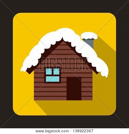Wooden house covered with snow icon in flat style on a yellow background