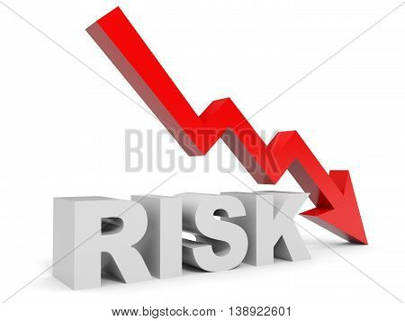 Graph down risk arrow on white background. 3D illustration.