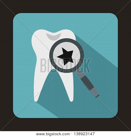 Tooth with magnifying glass icon in flat style on a baby blue background