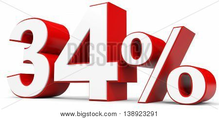 Discount 34 percent off on white background. 3D illustration.