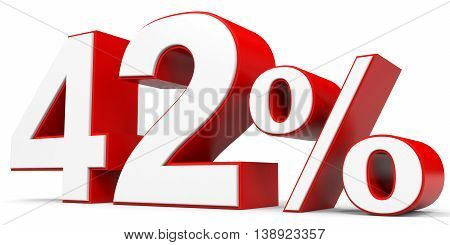 Discount 42 percent off on white background. 3D illustration.