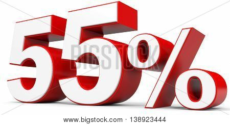 Discount 55 percent off on white background. 3D illustration.