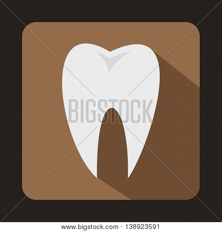 White tooth icon in flat style on a coffee background