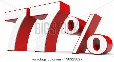 Discount 77 percent off on white background. 3D illustration.