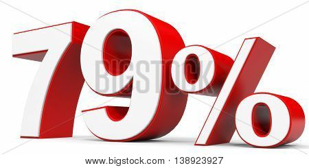 Discount 79 percent off on white background. 3D illustration.