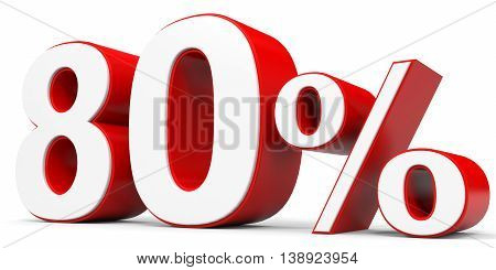 Discount 80 percent off on white background. 3D illustration.