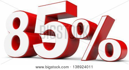 Discount 85 percent off on white background. 3D illustration.