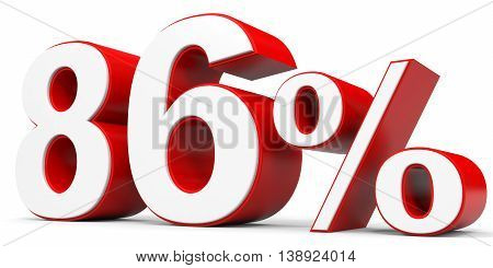 Discount 86 percent off on white background. 3D illustration.