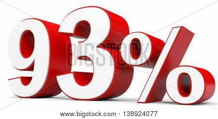 Discount 93 percent off on white background. 3D illustration.