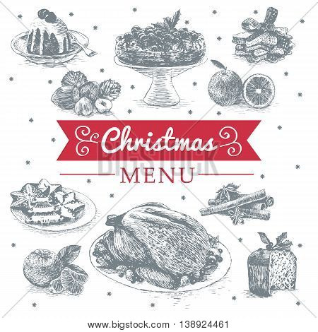 Vector illustration with Christmas dinner menu. Different Christmas meals on white background