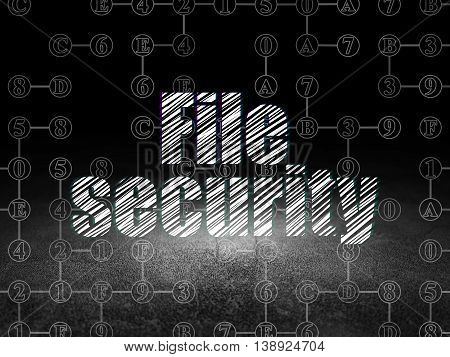 Protection concept: Glowing text File Security in grunge dark room with Dirty Floor, black background with Scheme Of Hexadecimal Code