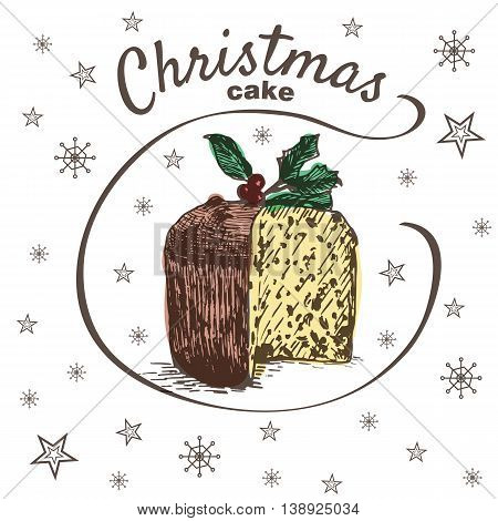 Vector colorful illustration of Christmas cake with raisins and holly leaves and berry. Christmas cake on white background with snowflakes