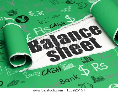 Money concept: black text Balance Sheet under the curled piece of Green torn paper with  Hand Drawn Finance Icons, 3D rendering