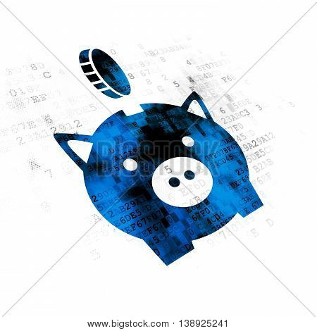 Money concept: Pixelated blue Money Box With Coin icon on Digital background