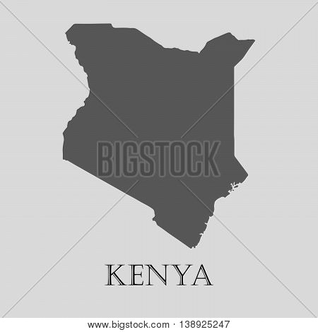 Gray Kenya map on light grey background. Gray Kenya map - vector illustration.