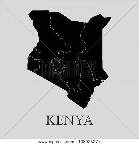 Black Kenya map on light grey background. Black Kenya map - vector illustration.