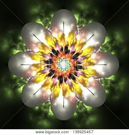 Abstract flower mandala on blurred background. Symmetrical pattern in orange black green and pink colors. Fantasy fractal design for postcards wallpapers or clothes. 3D rendering.
