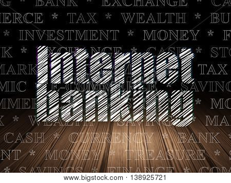 Currency concept: Glowing text Internet Banking in grunge dark room with Wooden Floor, black background with  Tag Cloud