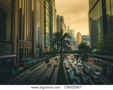 Crowded Highway in Hong Kong during rush hour
