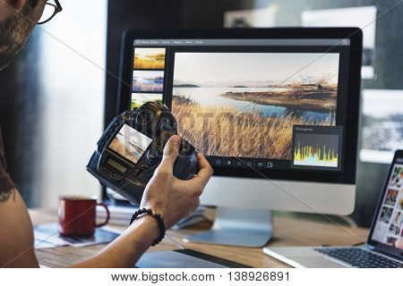 Camera PhotoGraphy Photographer Working Checking Concept