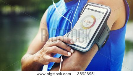 Man Running Tracker Armband Outdoors Concept