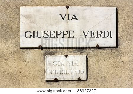 via giuseppe verdi, street plate on a wall of old house in Florence, region of Tuscany, Italy
