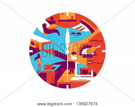 Daily time cycle. Business day, routine wake up and office work. Vector illustration