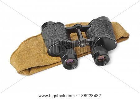 Army soldiers forage-cap and binoculars isolated on white background