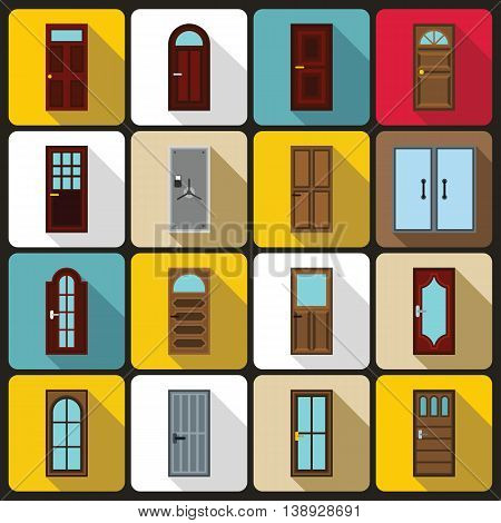 Door icons set in flat style. Exterior set collection vector illustration