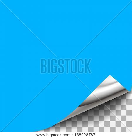 Blue curled paper corner with transparent background. For page design with curled corner, document design with curled corner, web graphic with curled corner, banner, flyer design with curled corner.