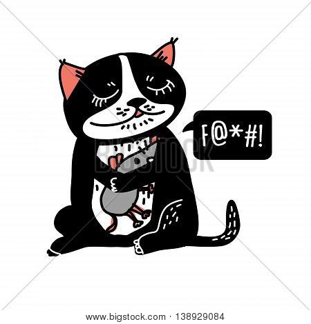 Happy cute cat hug scared mouse isolate on white. Color vector illustration. EPS8