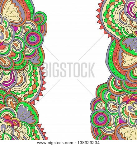 Vector colored hand drawn pattern. Side tracery with white field between.