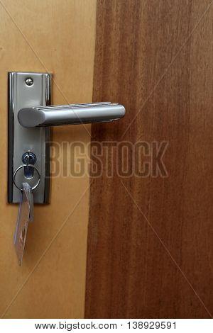 Details of brown door in a hotel