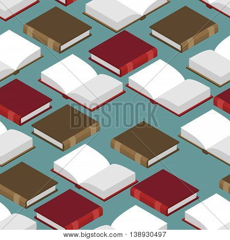 Book Isometric Seamless Pattern. Red And Green Cover. Read Volume